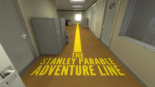 """""""Questa volta, per assicurarci di non perderci, ho richiesto l'aiuto della Linea dell'Avventura The Stanley Parable™! Tu segui solo la Linea™; nessuna preoccupazione!"""