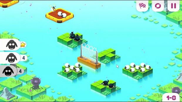 Screenshot raffigurante delle isole ed un canotto con pecore bianche e nere sopra.