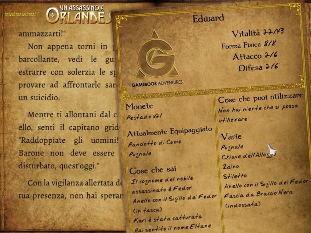 Un Assassino a Orlandes: screenshot della scheda del personaggio.