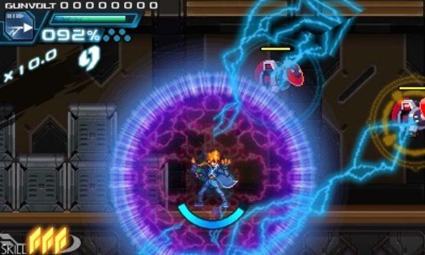 Azure Striker Gunvolt: immagine di gioco col protagonista circondato da saette.