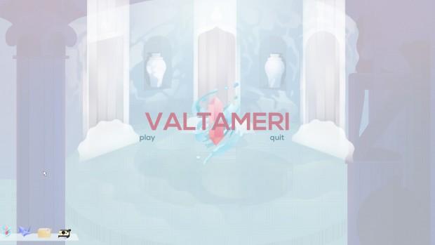 """Cibele: schermata iniziale dell'MMO Valtameri, con le opzioni """"play"""" e """"quit""""."""