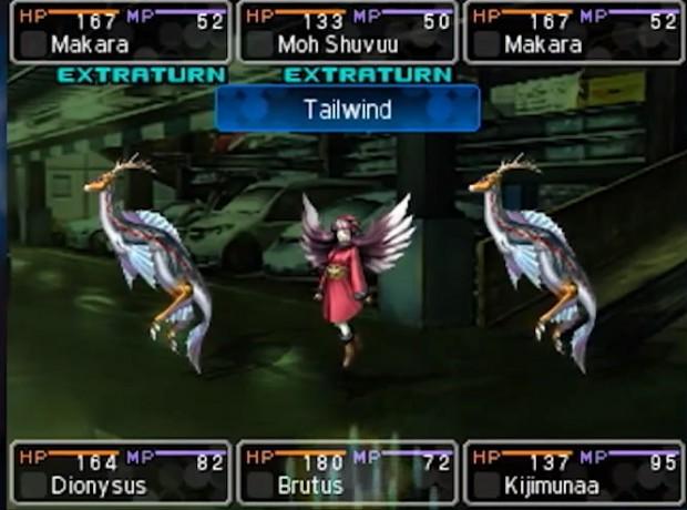 Devil Survivor 2: schermata di battaglia tipica di un JRPG.