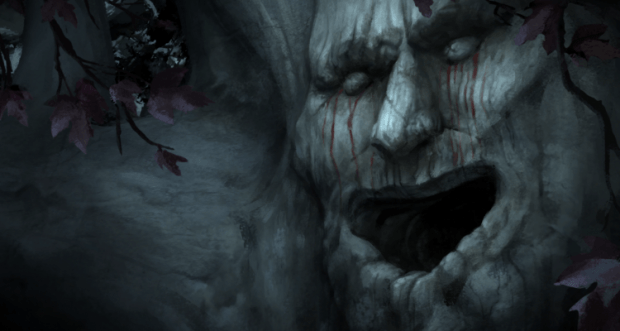 Game of Thrones: primo piano di una corteccia con occhi naso e bocca (aperta).