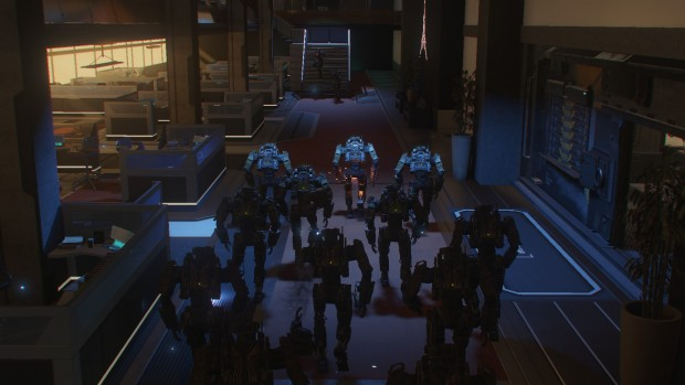 Hangar con robot armati.