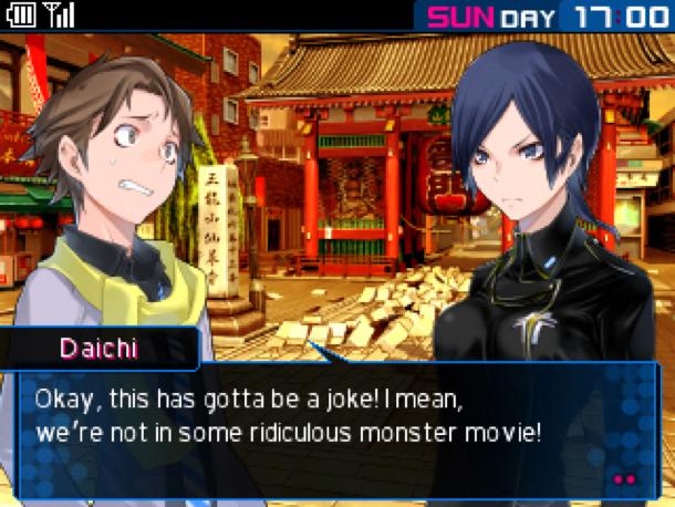 Devil Survivor 2: schermata di dialogo tra due personaggi che presenta i due ai lati opposti dello schermo e il testo in basso.