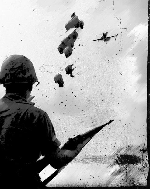 Il sergente Connelly osserva i rifornimenti lanciati dagli elicotteri. Basteranno per tenere la collina per due settimane?
