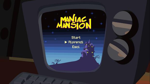 Il menu di accesso a Maniac Mansion è mezzo tradotto, e il Riprendi porterà a dove eravate rimasti. Più o meno.